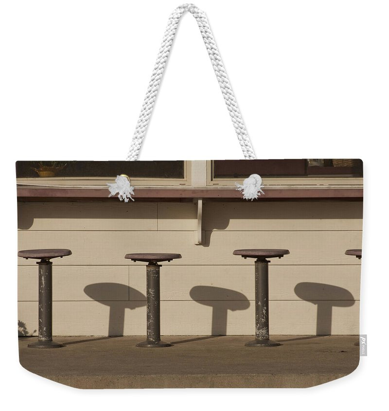 Los Osos Weekender Tote Bag featuring the photograph Beach Diner Stools by Art Block Collections