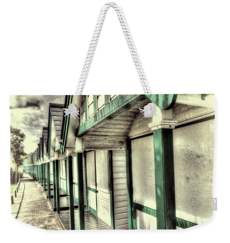 Langland Bay Beach Huts Weekender Tote Bag featuring the photograph Beach Huts 1 by Steve Purnell