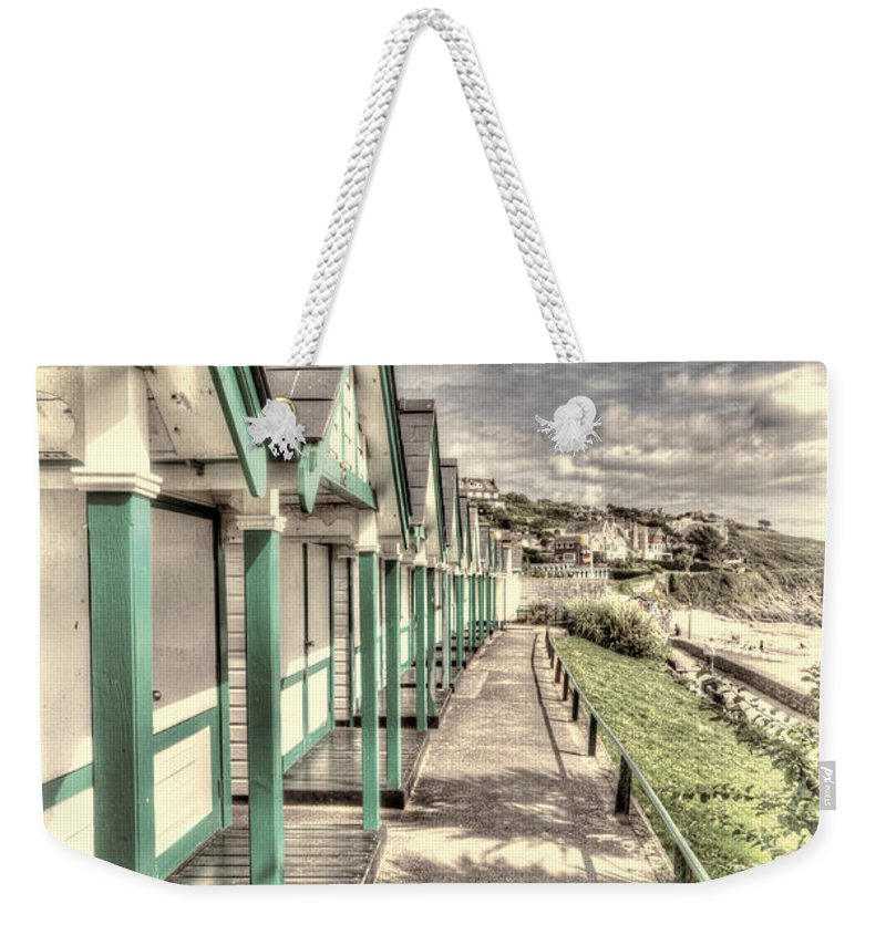 Langland Bay Beach Huts Weekender Tote Bag featuring the photograph Beach Huts 2 by Steve Purnell