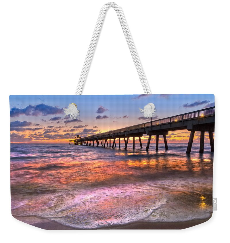 Clouds Weekender Tote Bag featuring the photograph Beach Lace by Debra and Dave Vanderlaan