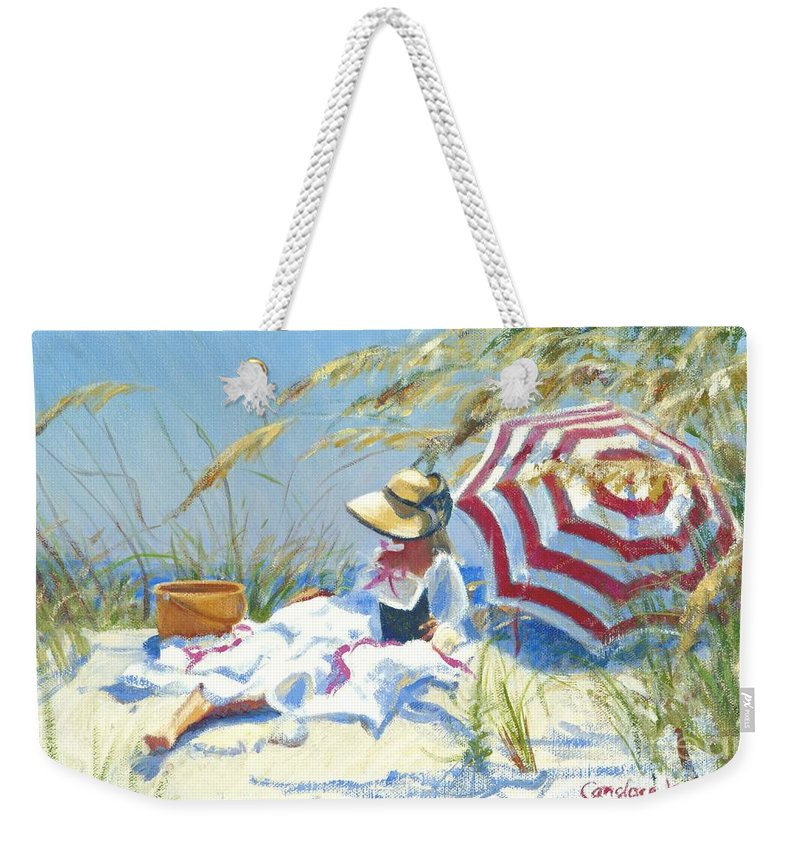 Impressionist Weekender Tote Bag featuring the painting Beach Novel by Candace Lovely