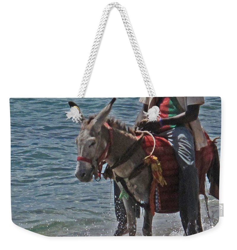 Donkey Weekender Tote Bag featuring the photograph Beach Patrol by Ian MacDonald
