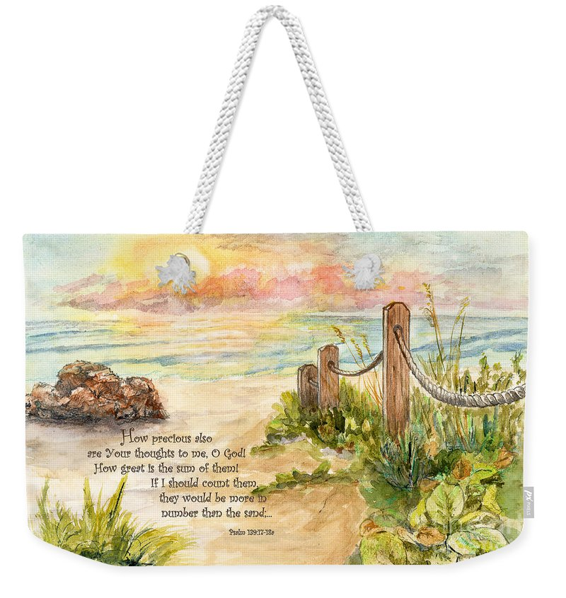 Ocean Weekender Tote Bag featuring the painting Beach Post Sunrise Psalm 139 by Janis Lee Colon