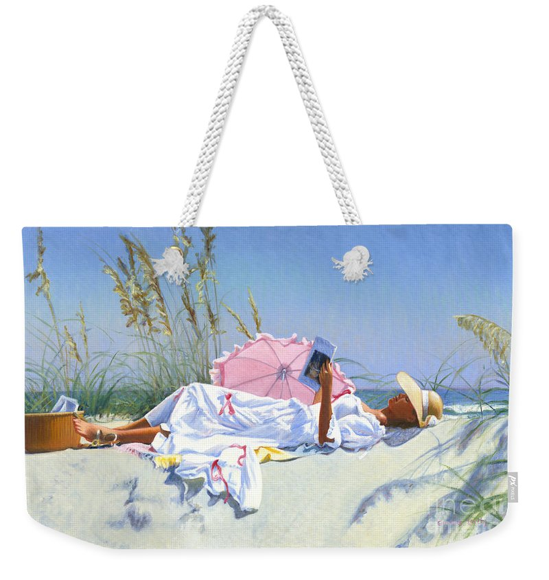 Impressionist Weekender Tote Bag featuring the painting Beach Recliner by Candace Lovely