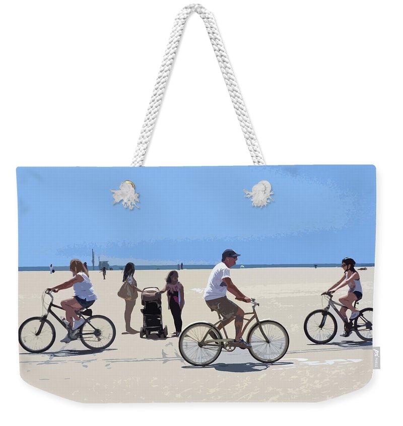 Bicycle Art Weekender Tote Bag featuring the photograph Beach Riders by Nancy Merkle