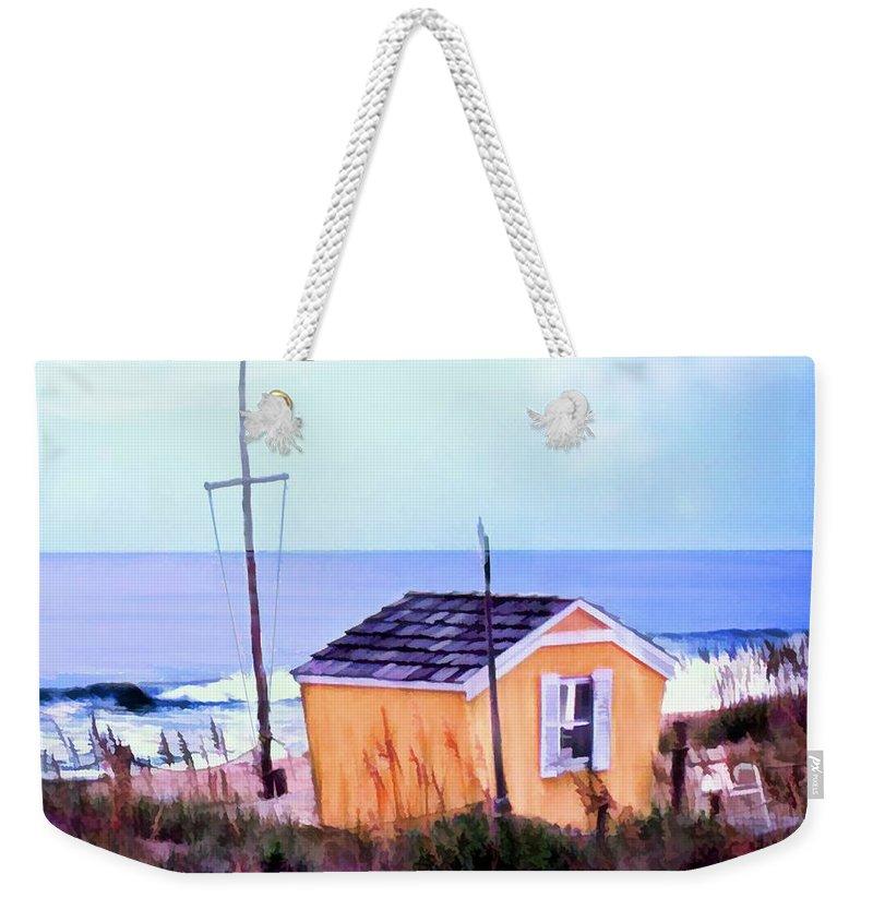 Ocean Weekender Tote Bag featuring the painting Beach Shack At Nags Head by Elaine Plesser