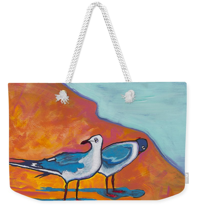 Birds Weekender Tote Bag featuring the painting Beach Shadows by John Schultz