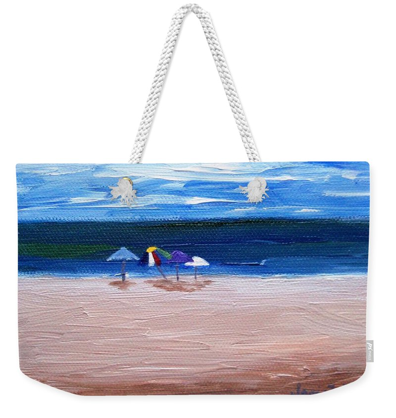 Beach Weekender Tote Bag featuring the painting Beach Umbrellas by Jamie Frier