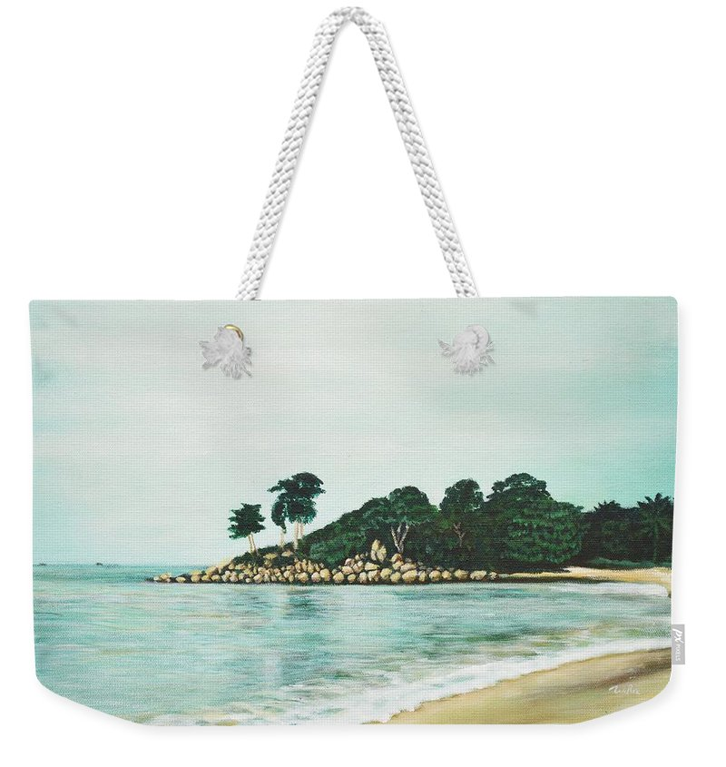 Beach Weekender Tote Bag featuring the painting Beach by Usha Shantharam