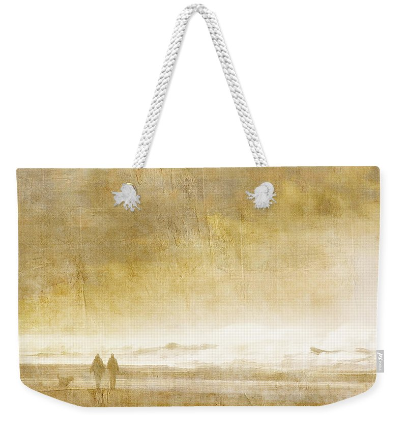 Walk Weekender Tote Bag featuring the photograph Beach Walk Square by Carol Leigh