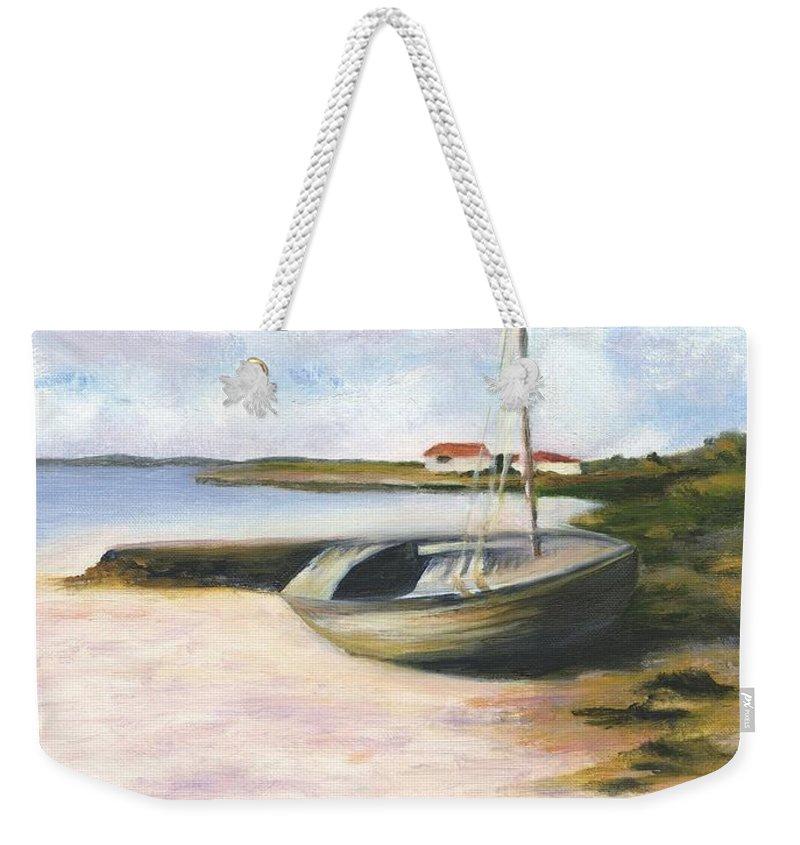 Beach Weekender Tote Bag featuring the painting Beached by Deborah Butts