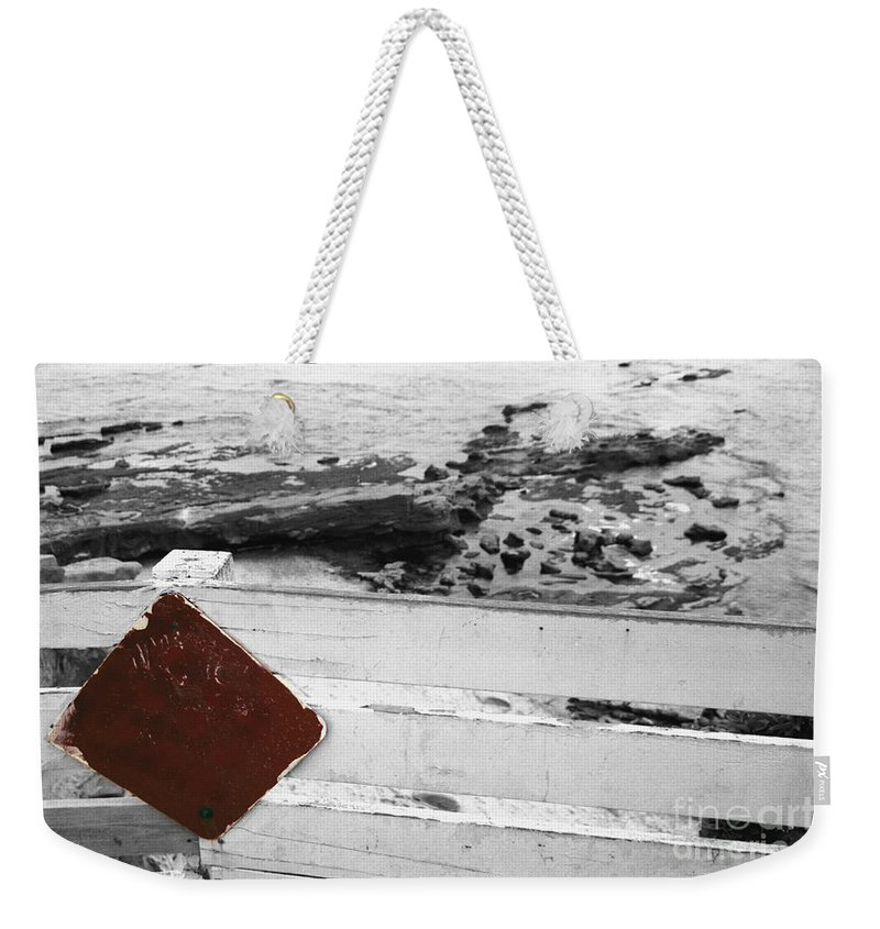 Sign Weekender Tote Bag featuring the photograph Beachside Warning Horizontal Bw With Colorized Red Sign by Heather Kirk
