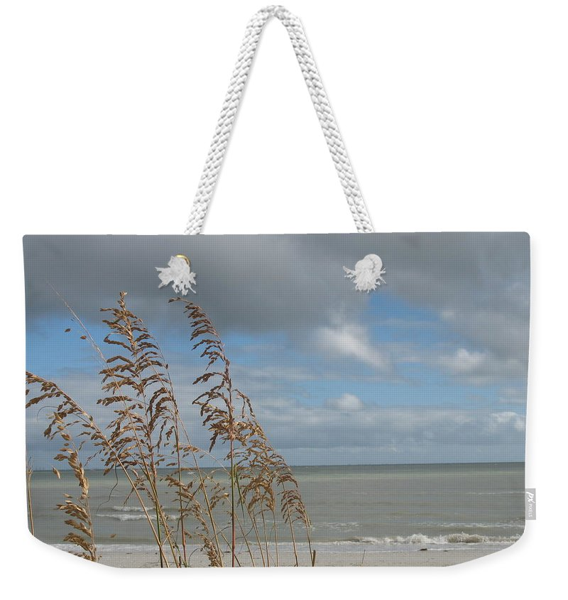 Beach Weekender Tote Bag featuring the photograph Beachview With Seaoat by Christiane Schulze Art And Photography