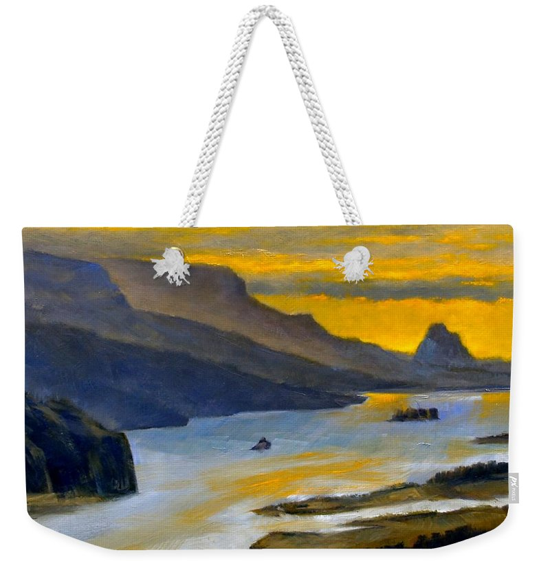 Beacon Rock Weekender Tote Bag featuring the painting Beacon Rock from Oregon Side by Jim Gola