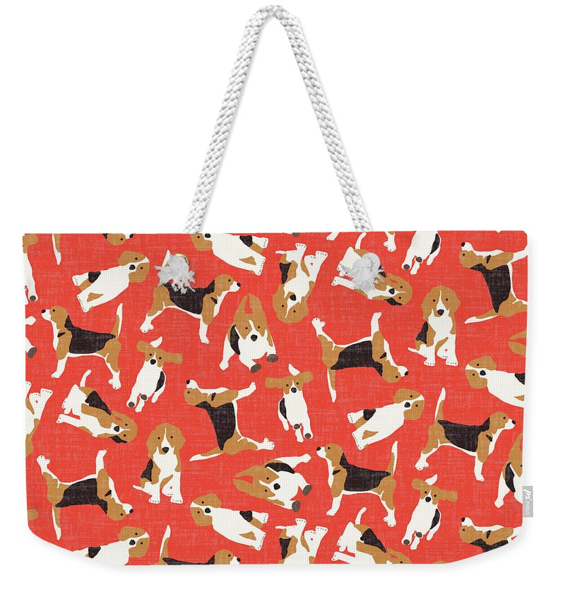 Beagle Weekender Tote Bag featuring the drawing Beagle Scatter Coral Red by MGL Meiklejohn Graphics Licensing