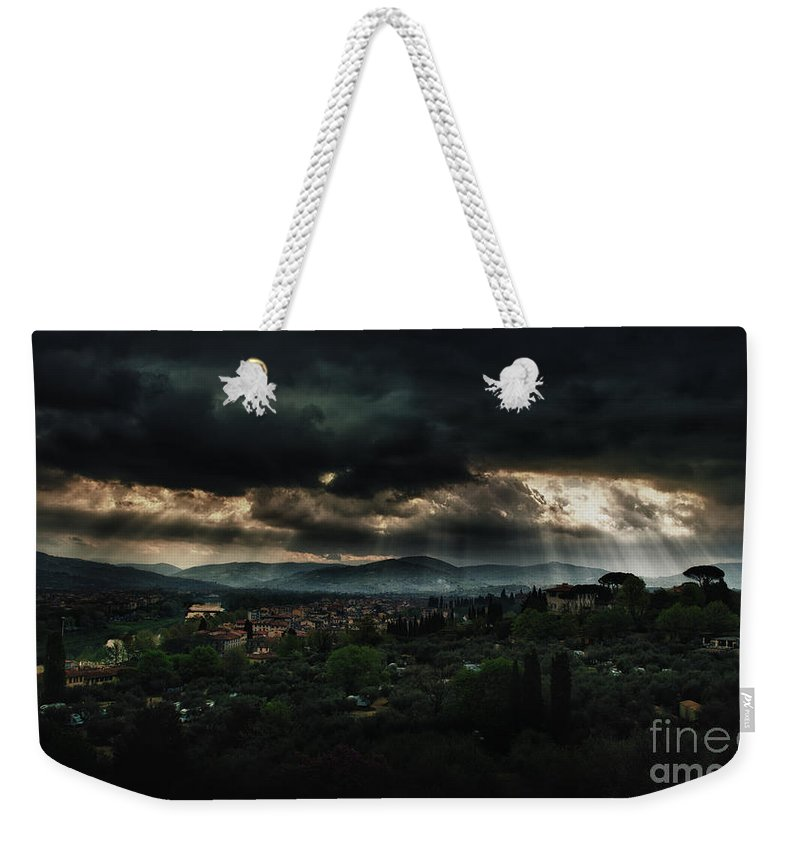 Florence Weekender Tote Bag featuring the photograph Beams Of Light Over Florence by Jaroslaw Blaminsky
