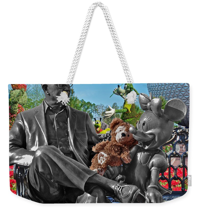 Fantasy Weekender Tote Bag featuring the photograph Bear And His Mentors Walt Disney World 03 by Thomas Woolworth