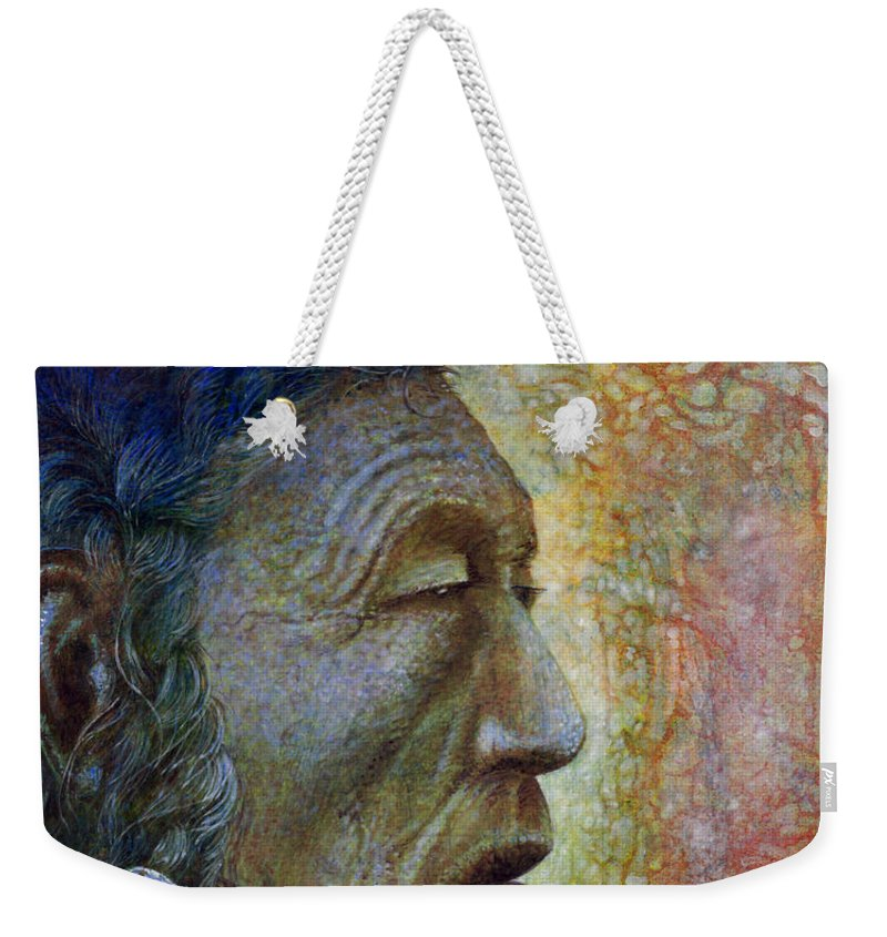 Bear Bull Weekender Tote Bag featuring the painting Bear Bull Shaman by Otto Rapp