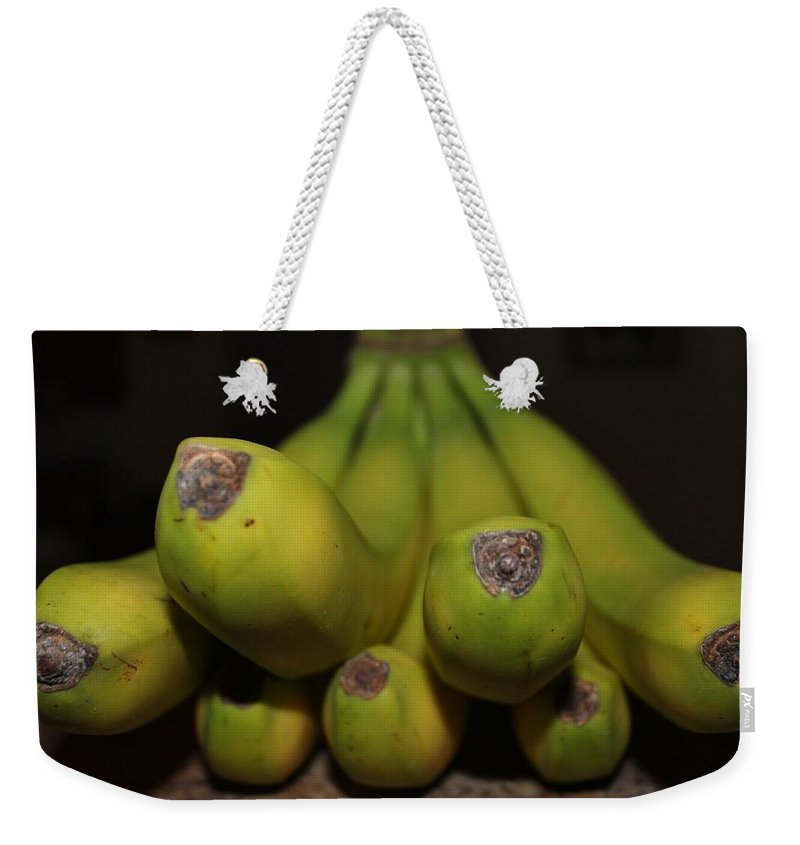 Banana Weekender Tote Bag featuring the photograph Bear Face Bananas by Cynthia Guinn