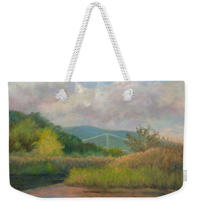 Bear Mountain Bridge Weekender Tote Bag featuring the painting Bear Mountain Bridge From Iona Marsh by Phyllis Tarlow