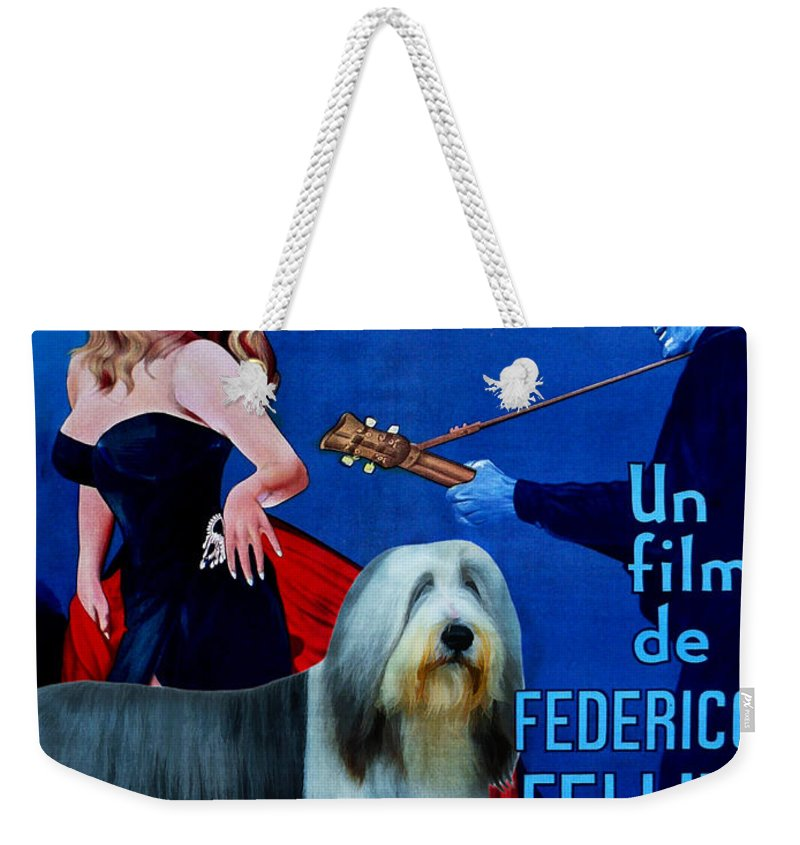 Bearded Collie Weekender Tote Bag featuring the painting Bearded Collie Art Canvas Print - La Dolce Vita Movie Poster by Sandra Sij
