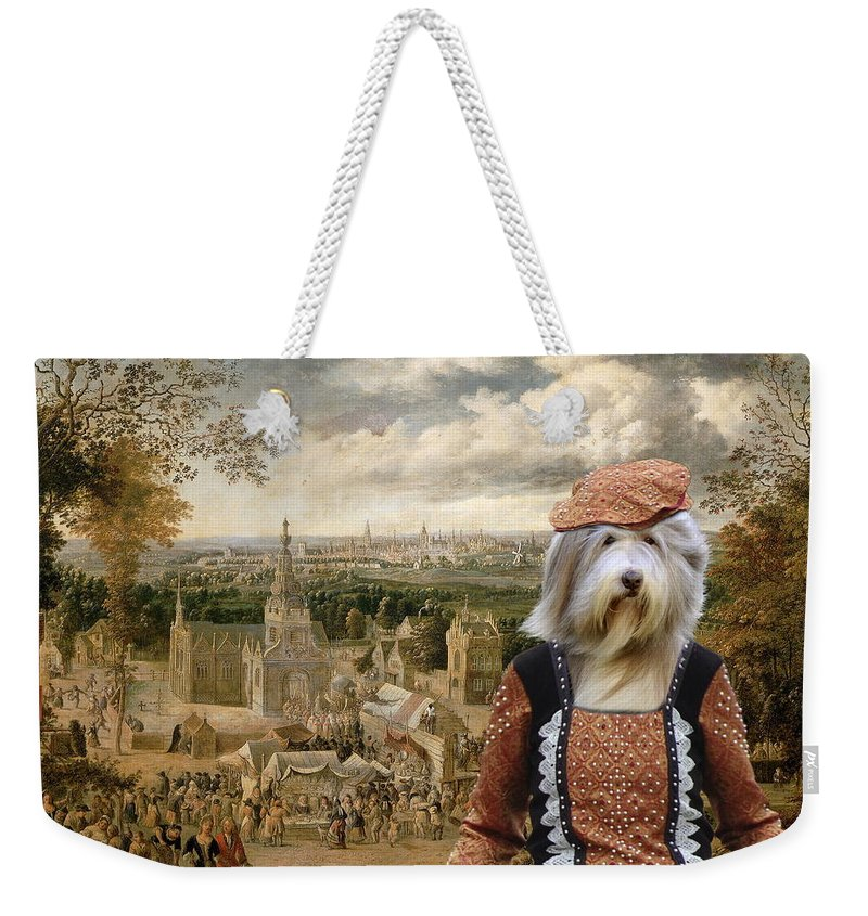 Bearded Collie Weekender Tote Bag featuring the painting Bearded Collie Art Canvas Print by Sandra Sij