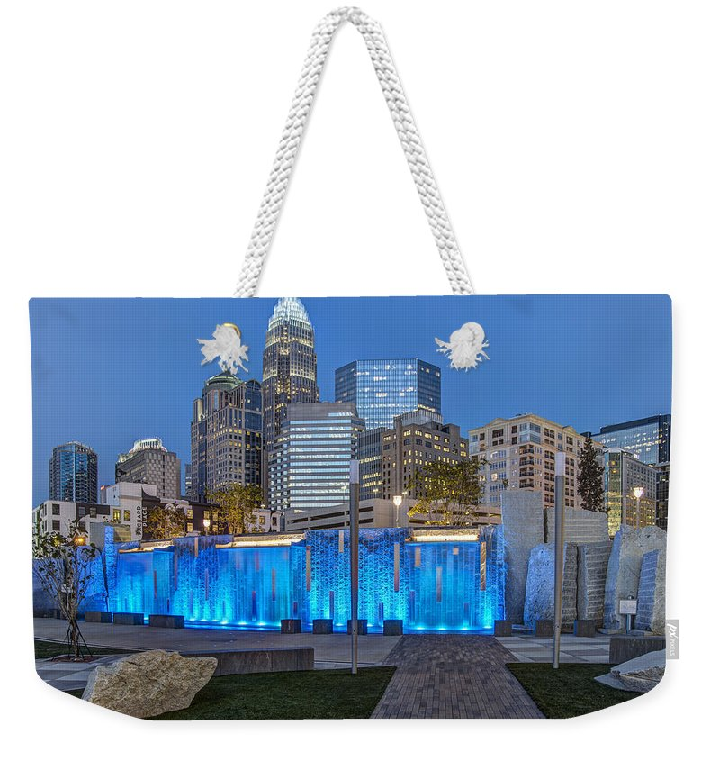 Romare Bearden Park Weekender Tote Bag featuring the photograph Bearden Blue by Chris Austin