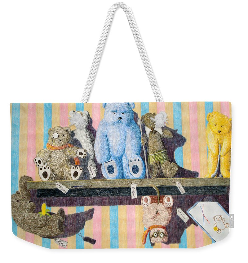 Still Life Weekender Tote Bag featuring the painting Bearly There by A Robert Malcom