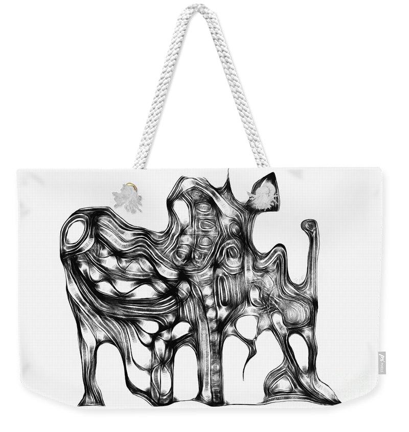 Graphic Weekender Tote Bag featuring the digital art Beast 711 - Marucii by Marek Lutek