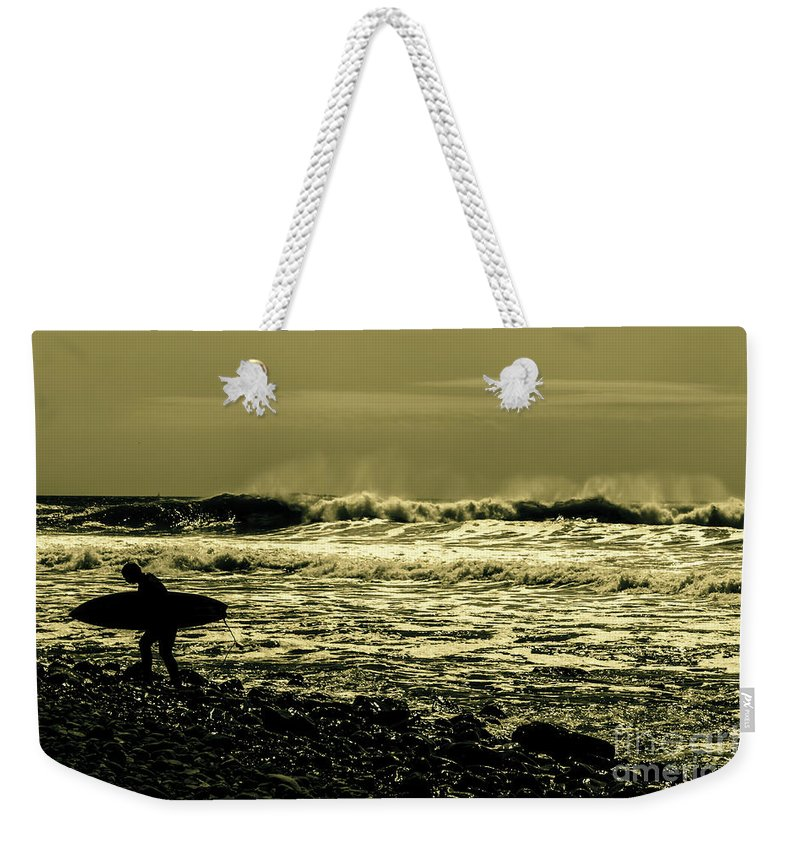 Surf Weekender Tote Bag featuring the photograph Beaten Back by Joe Geraci