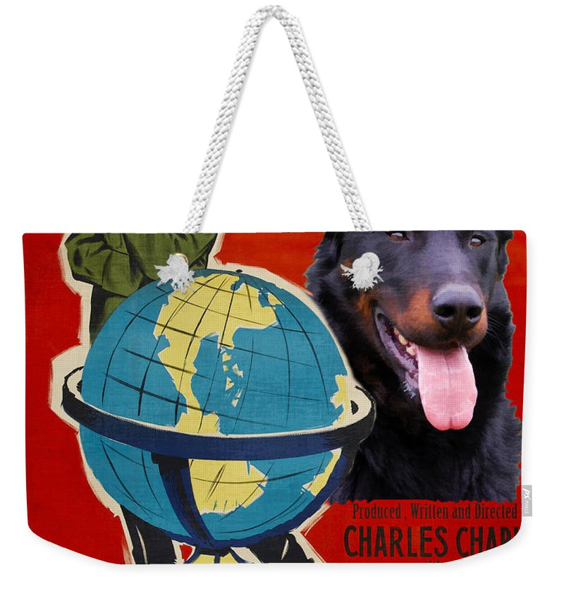 Beauceron Weekender Tote Bag featuring the painting Beauceron Art Canvas Print - The Great Dictator Movie Poster by Sandra Sij