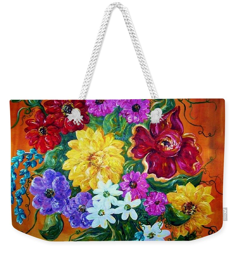 Flower Weekender Tote Bag featuring the painting Beauties In Bloom by Eloise Schneider Mote