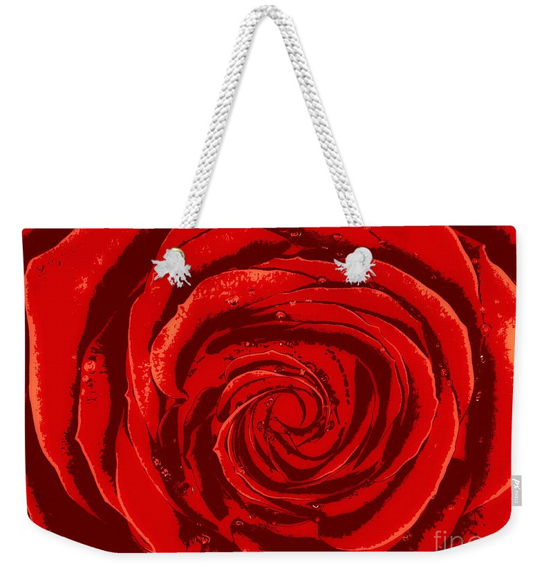 Rose Weekender Tote Bag featuring the photograph Beautiful Abstract Red Rose Illustration by Oleksiy Maksymenko