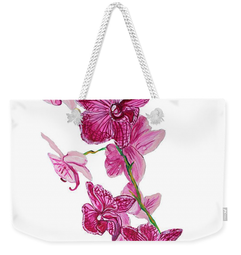 Orchid Weekender Tote Bag featuring the painting Beautiful Burgundy Orchid Flower Original Floral Painting Pink Orchid I By Megan Duncanson Madart by Megan Duncanson