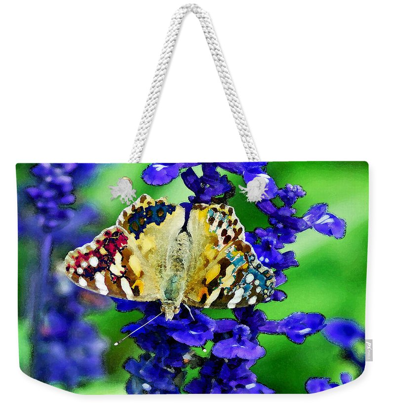 Augusta Stylianou Weekender Tote Bag featuring the digital art Beautiful Butterfly On A Flower by Augusta Stylianou