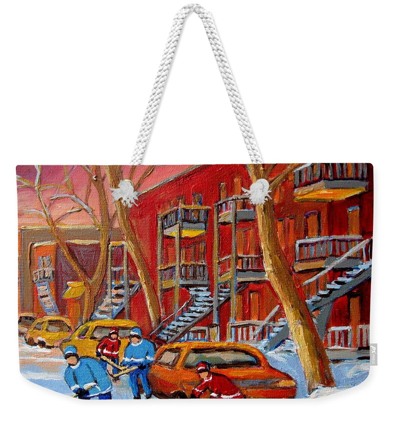 Weekender Tote Bag featuring the painting Beautiful Day For Hockey by Carole Spandau