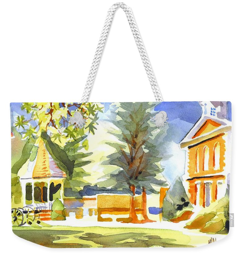 Beautiful Day On The Courthouse Square Weekender Tote Bag featuring the painting Beautiful Day On The Courthouse Square by Kip DeVore