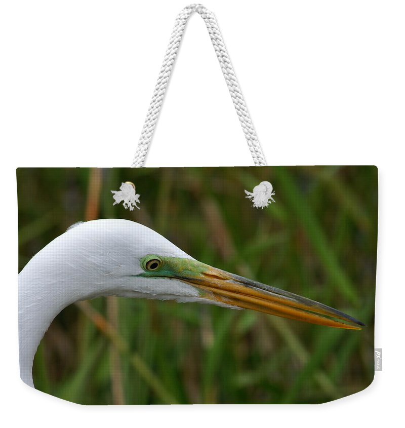 Egret Weekender Tote Bag featuring the photograph Beautiful Great Egret by Larry Allan