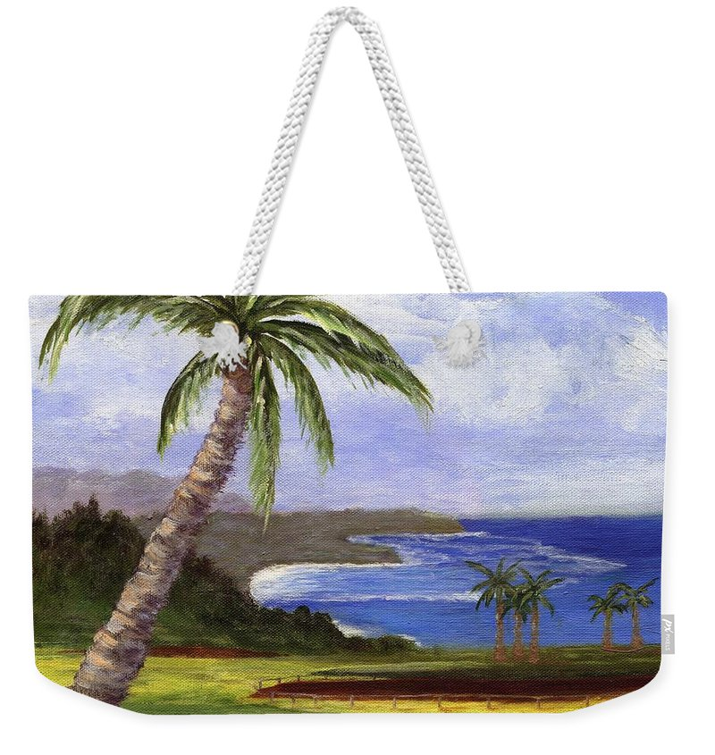 Palm Tree Weekender Tote Bag featuring the painting Beautiful Kauai by Jamie Frier