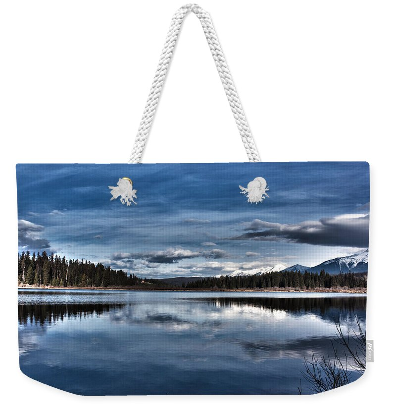 Sky Weekender Tote Bag featuring the photograph Beautiful Rainy Lake by Janie Johnson