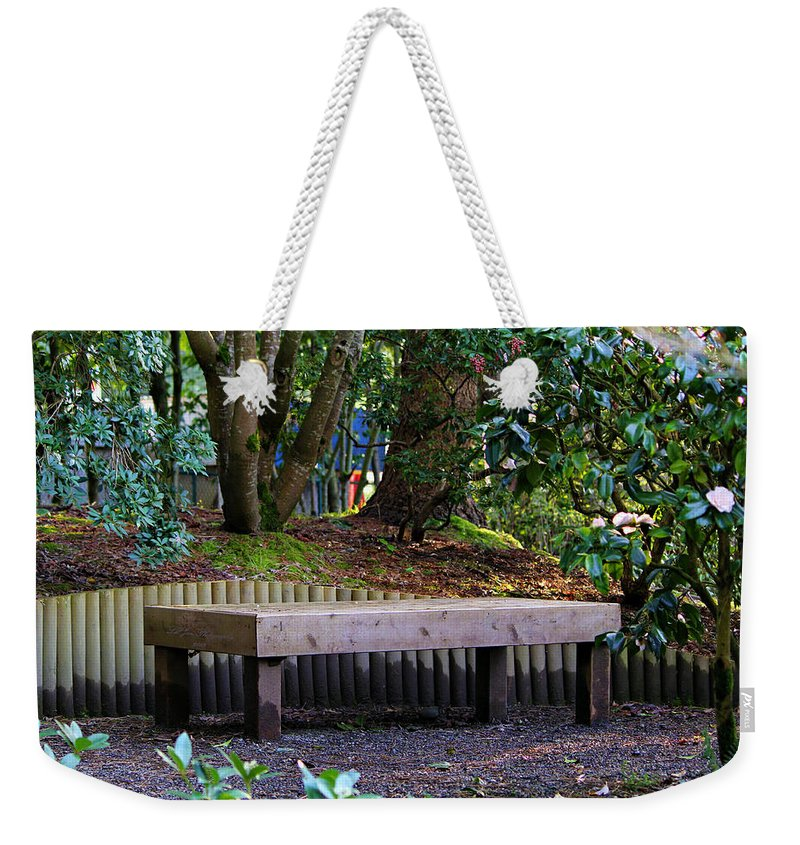Yashiro Garden Weekender Tote Bag featuring the photograph Beautiful Respite by Jeanette C Landstrom