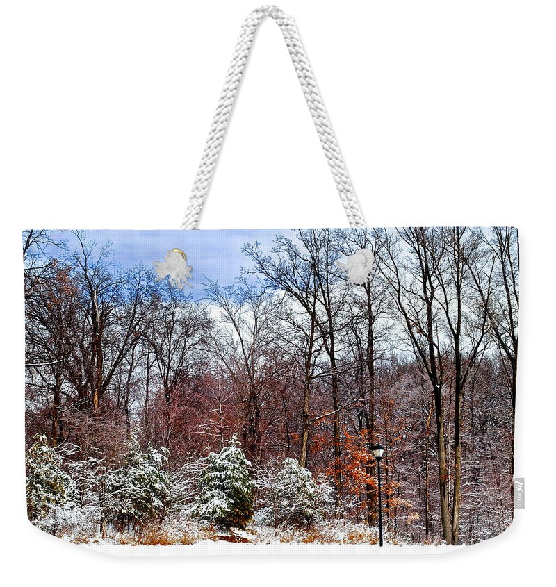 Snow Weekender Tote Bag featuring the photograph Beautiful Scenery by Frozen in Time Fine Art Photography