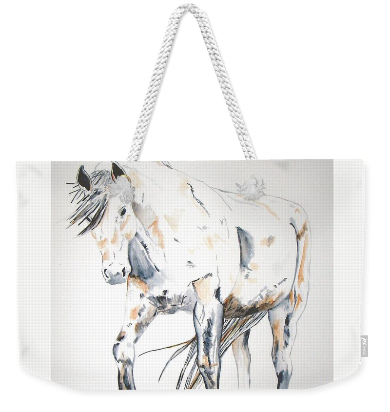 Horse Weekender Tote Bag featuring the painting Beauty by Crystal Hubbard
