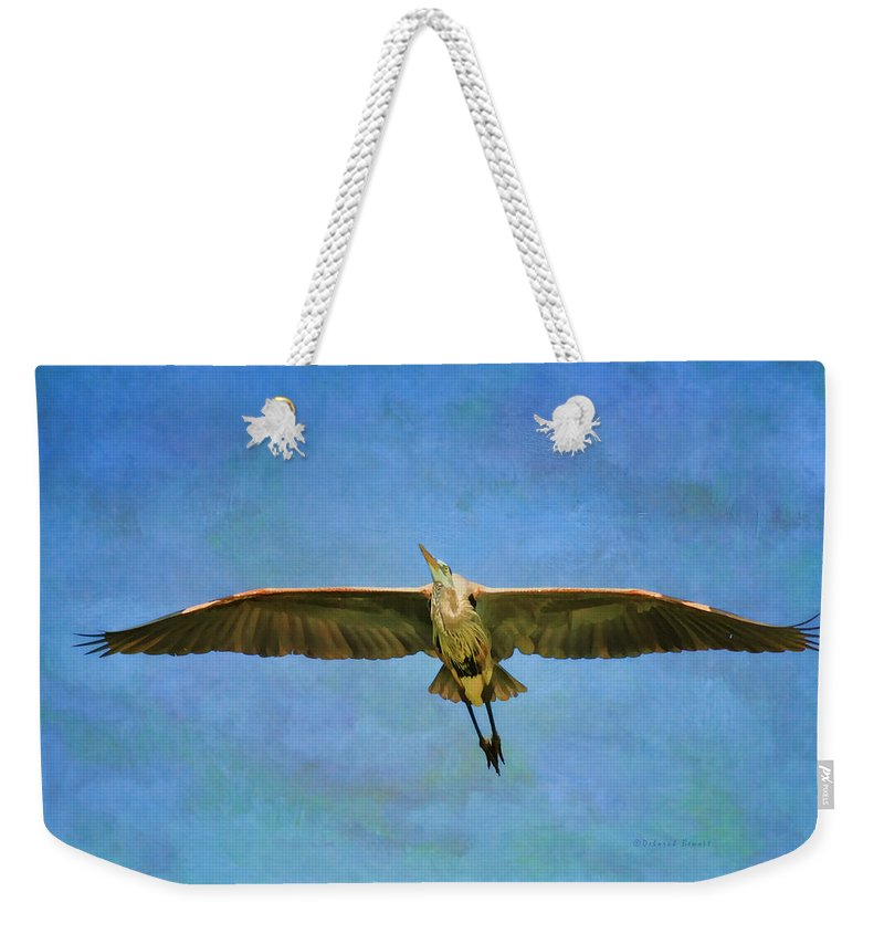 Blue Heron Weekender Tote Bag featuring the photograph Beauty Of Flight Textured by Deborah Benoit