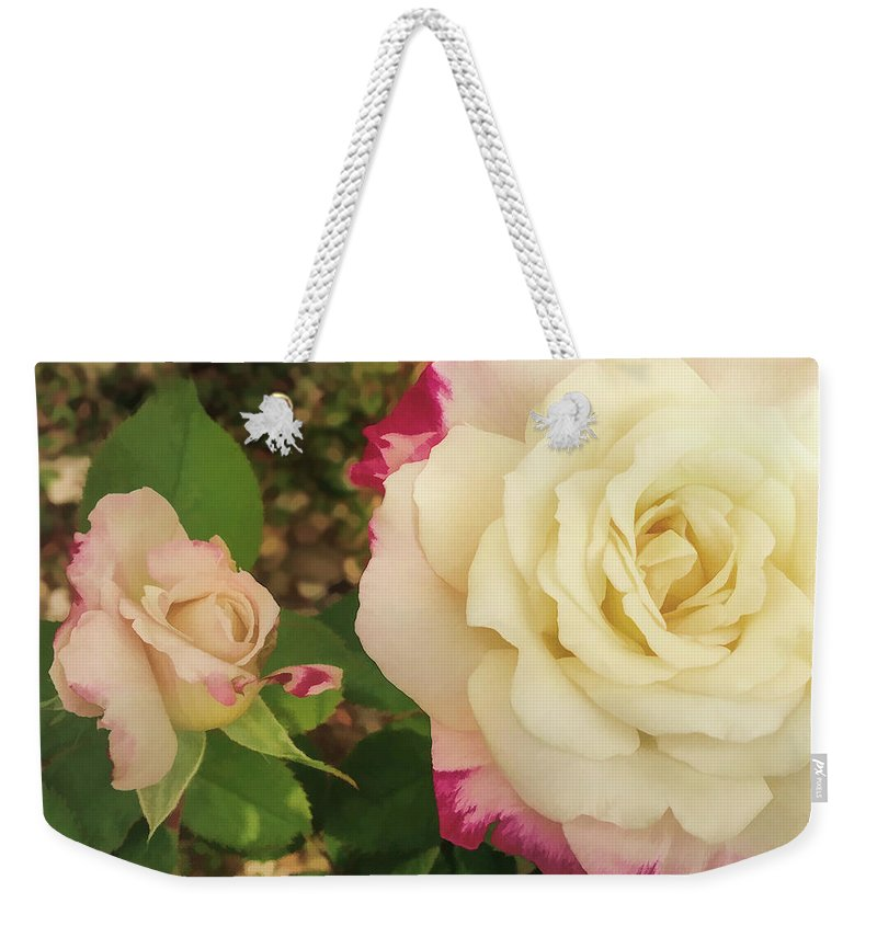 Rose Weekender Tote Bag featuring the digital art Beauty Together by Anita Hubbard