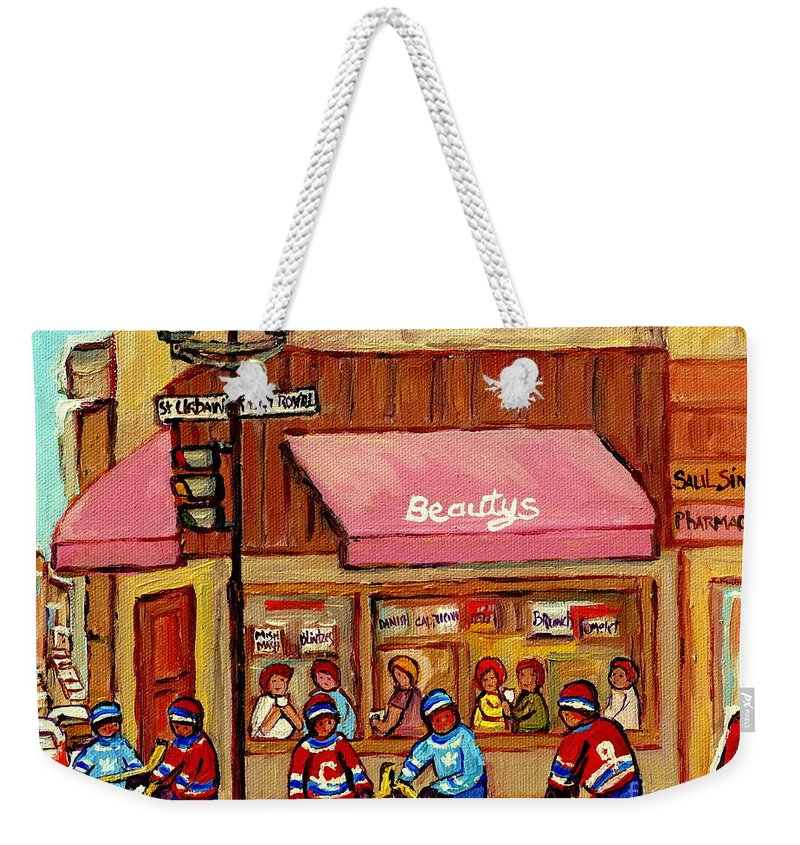 Beauty's Restaurant Weekender Tote Bag featuring the painting Beauty's Restaurant Paintings Of Plateau Montreal Winter Scenes Hockey Art Carole Spandau by Carole Spandau
