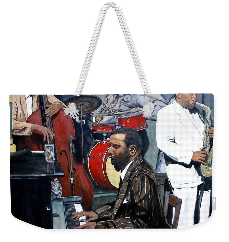 Musicans Weekender Tote Bag featuring the painting Bebop 'til You Drop by Tom Roderick