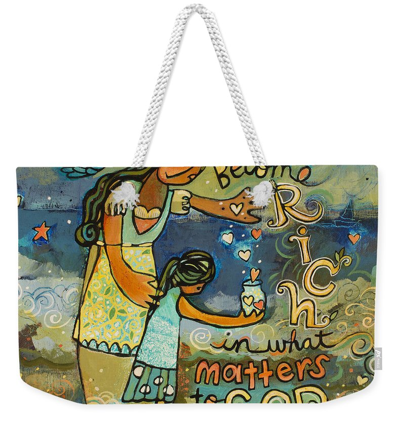 Jen Norton Weekender Tote Bag featuring the painting Become Rich in what Matters to God by Jen Norton