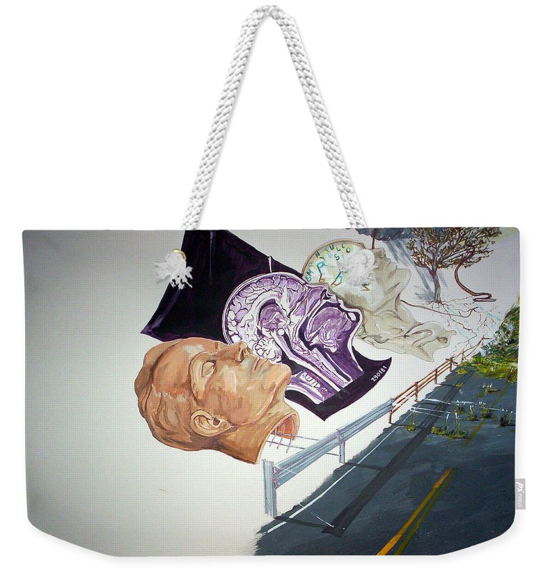 Surrealist Weekender Tote Bag featuring the painting Becoming Conscience by Lazaro Hurtado