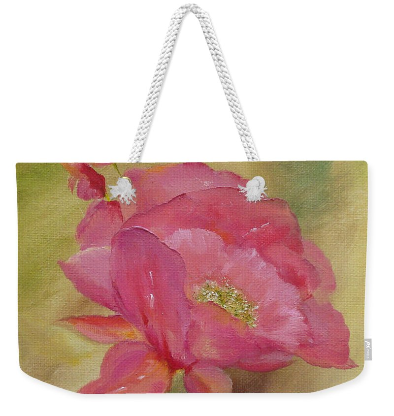 Flower Weekender Tote Bag featuring the painting Becoming by Judith Rhue
